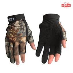 Molure 3 Cut Finger Fishing Hunting Gloves Anti-slip Breatha