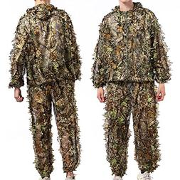 TNWEtory Free Size 3D Woodland Leafy Camo Suit, Hooded Ghill