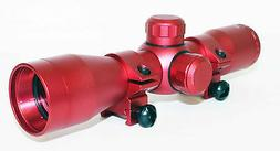 Trinity 4x32 rifle scope mildot reticle rings red anodize ta