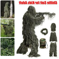 5in 1 3D Ghillie Suit Train Jungle Forest Wood Hunting Camou