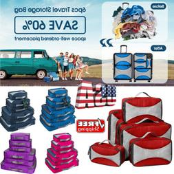6pcs waterproof travel storage bags clothes packing