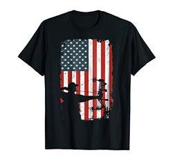 Archery Bow Hunting Bow Hunter American Flag TShirt