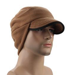 Mens Winter Fleece Earflap Cap With Visor Brown, One Size