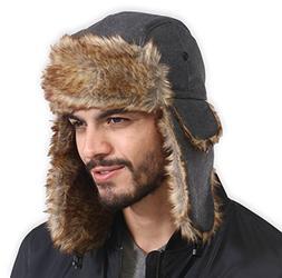 Tough Headwear Trapper Hat with Faux Fur & Ear Flaps - Ushan