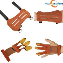 Leather Archery Protective 3 Finger Gloves Hunting 4 Straps