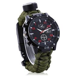Men Women Emergency Survival Watch with Paracord,Compass,Whi