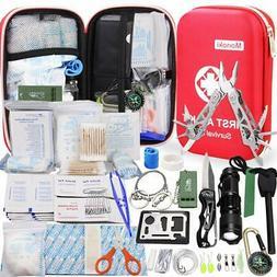 Monoki First Aid Kit Survival Kit, 241Pcs Upgraded Outdoor E