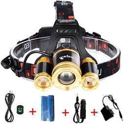 Bisgear 6000 Lumen Led Focusing Headlamp Rechargeable Ultra