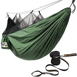 Hammock with Mosquito Net and Tree Straps, Green with Black