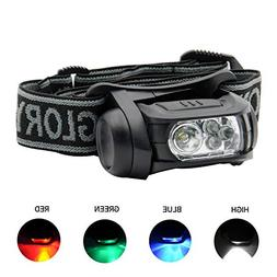 GLORYFIRE Headlamp LED 4 Colors Headlight Battery Powered He