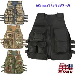 Kids Children Tactical Military Vest Assault Combat Gear Arm