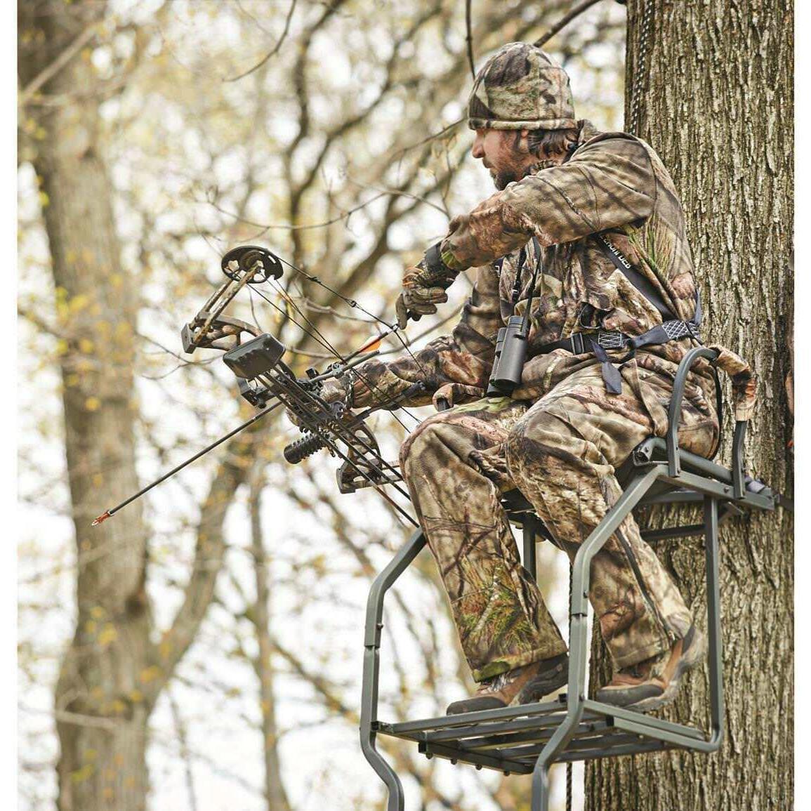 Ladder Stand Hunting Deer Tree Crossbow Shooting