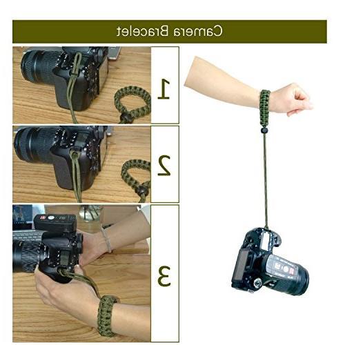 AC -1Survival Bracelet Adjustable CameraWrist Strap Gear Paracord Emergency Knife, Fire Starter,Compass Sawtooth; for