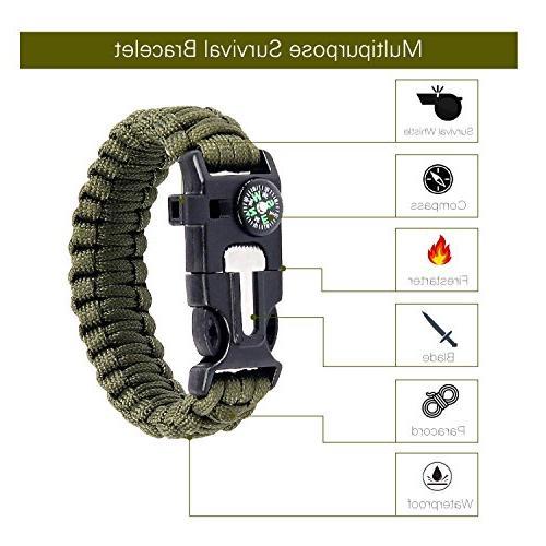 AC Parts -1Survival Bracelet + Adjustable CameraWrist Strap Rope Gear Paracord Emergency Whistle, Fire Starter,Compass for