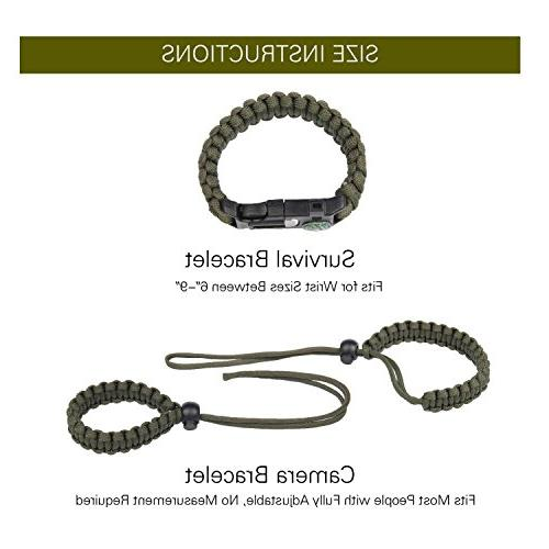 -1Survival Bracelet + 1Braided Adjustable CameraWrist Strap Rope Gear Paracord Bracelet Emergency Fire for