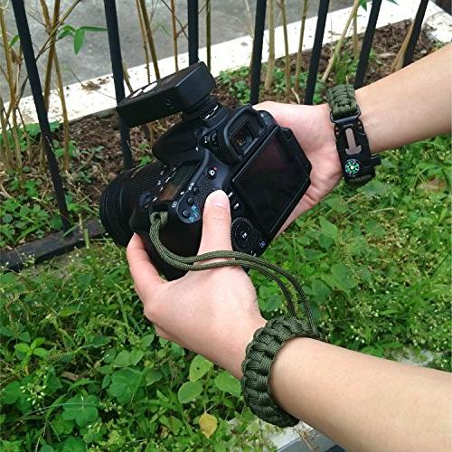 AC -1Survival Adjustable CameraWrist Gear Paracord with Emergency Knife, Whistle, for Camping/Hiking/Hunt