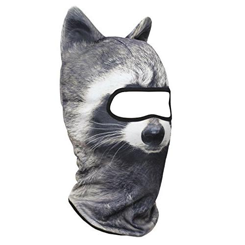 JIUSY 3D Face Mask Sun for Riding Hunting Music Raves Halloween Party Racoon MEB-16