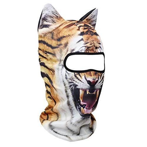 JIUSY Animal Balaclava Face Mask for Skiing Halloween Party Activities Ferocious Tiger MEB-15