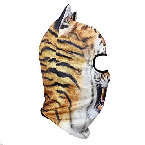 JIUSY 3D Balaclava Face Sun for Skiing Snowmobile Hunting Music Halloween Party Tiger