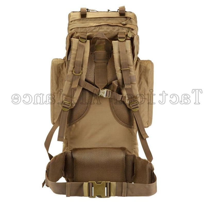65L Molle Tactical Men Backpack Travel Camping Camouflage Accessories