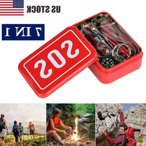 7in1 sos emergency tactical survival equipment kit