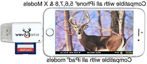 BoneView MicroSD Reader for Trail Deer Hunting Scouting Memory on iPhone 5, 7, X Plus Free Lightning Extender