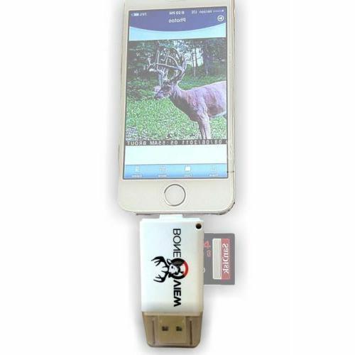 BoneView SD MicroSD Card Reader for Apple iOS, Trail Cam Vie