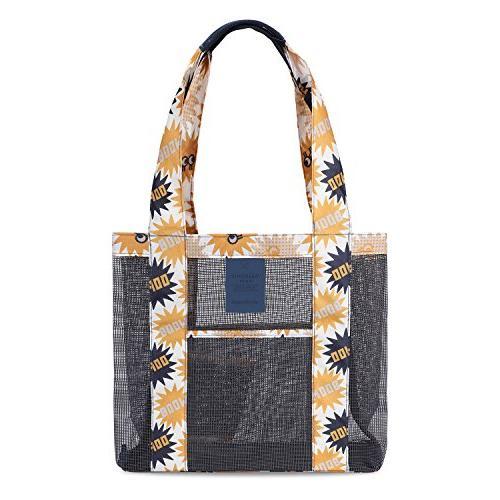 G4Free Fashion Lightweight Mesh Beach Tote Bag, Colorful Tot