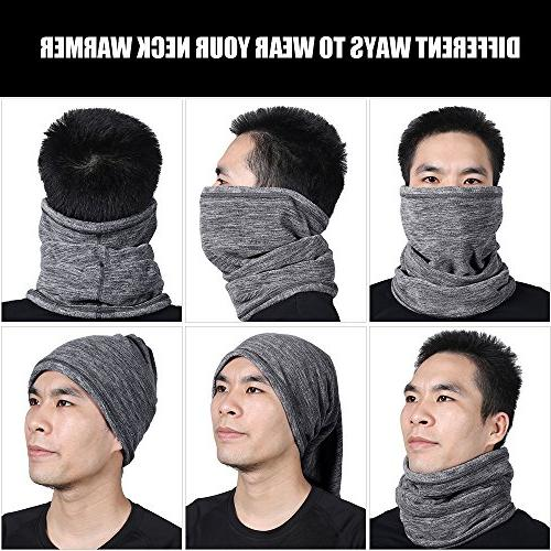 JIUSY 2 Pack Fleece Face Cold Weather Keep Warm Gear Winter Snowboard Motorcycle Hunting Grey