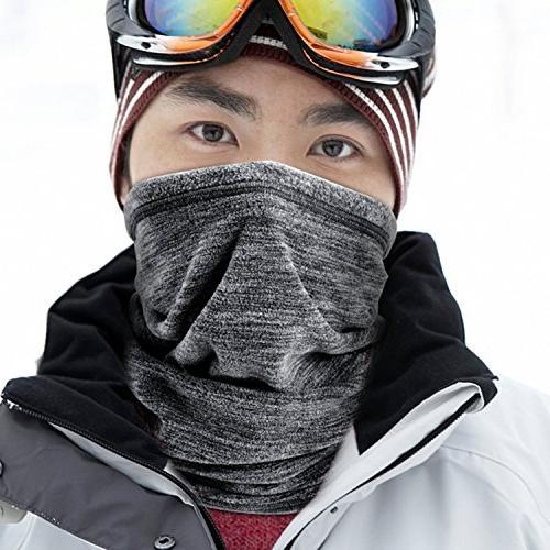 JIUSY Pack Fleece Neck Gaiter Warmer Face Cold Weather Warm Gear Outdoor Snowboard Ski Hunting Grey