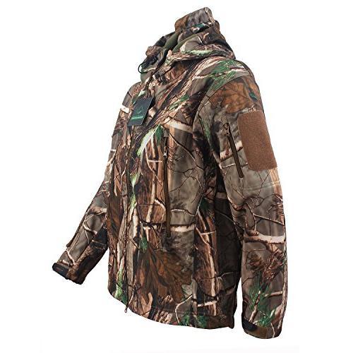 ReFire Gear Men's Shell Military Jacket Outdoor Fleece Hooded Camo XXX-Large