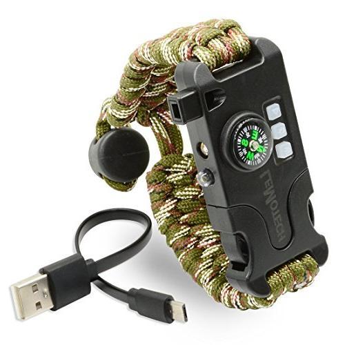 LeMotech Adjustable Bracelet, Emergency Kit Includes SOS Flashlight, Whistle-Outdoors, Hiking,