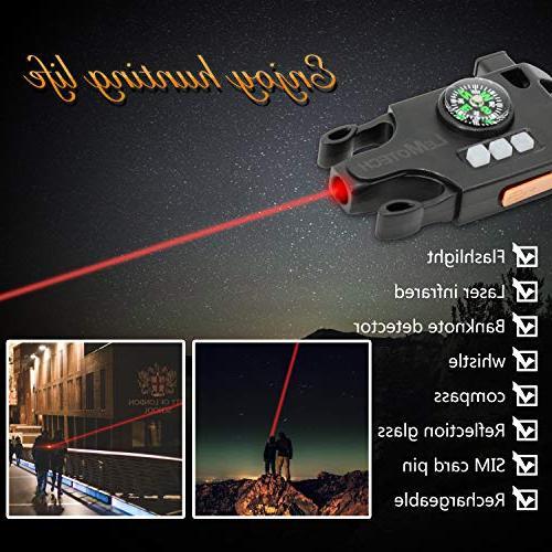 LeMotech Adjustable Survival Kit Laser SOS LED Flashlight, Lamp, Upgrade Whistle-Outdoors, Camping,and