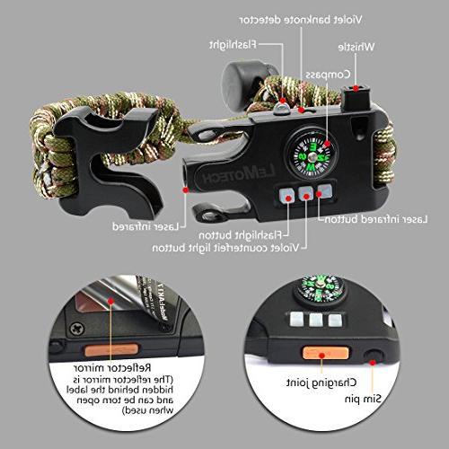 LeMotech Adjustable Survival Bracelet, Kit Laser Infrared, SOS Lamp, Upgrade Whistle-Outdoors, Camping,and Hunting