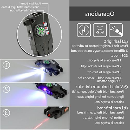 LeMotech Adjustable Survival Bracelet, Tactical Emergency Gear Kit Includes SOS LED Lamp, Upgrade Compass, Rescue Whistle-Outdoors, Camping,and
