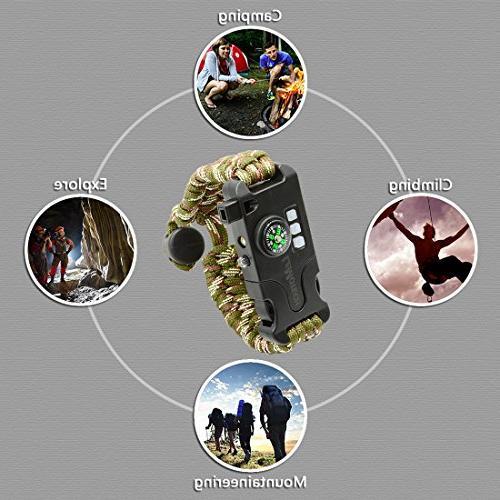 LeMotech Adjustable Survival Bracelet, Kit Includes SOS UV Lamp, Upgrade Rescue Whistle-Outdoors, Hiking,