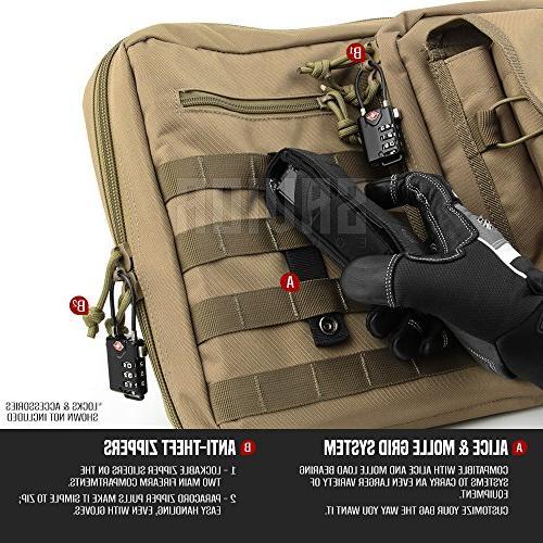 Savior Tactical Double Pistol Bag Firearm Transportation w/Backpack - 46 Flat Dark Earth Tan