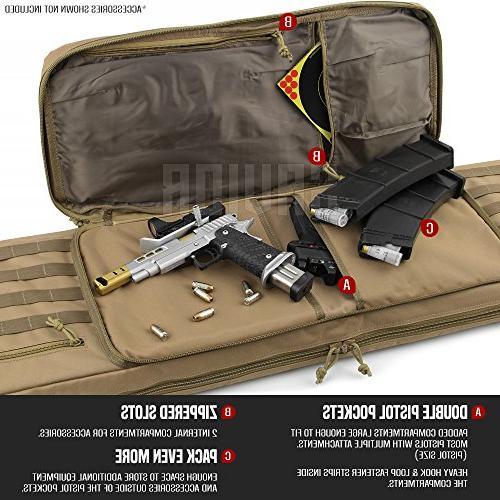 Savior Equipment Tactical Double Long Pistol Gun Transportation Case - 46 Dark Earth Tan