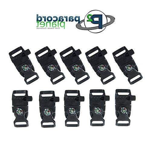 10 Compass Buckle with Scraper, Starter, – Plastic Paracord Bracelet Buckle for Emergency Survival, Travel Kits, and