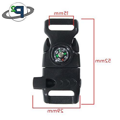 10 Pack Black Compass Buckle Flint Scraper, – Paracord Buckle Emergency Survival, Kits, and More Black