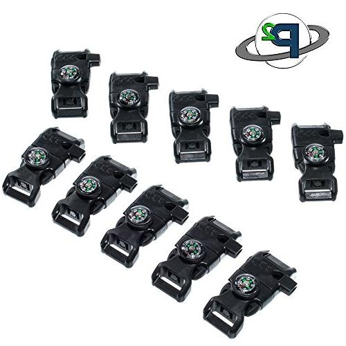 10 Pack Black 5/8-Inch Compass Buckle with Flint Scraper, Fire – Plastic Paracord Buckle Camping, Emergency Kits, and
