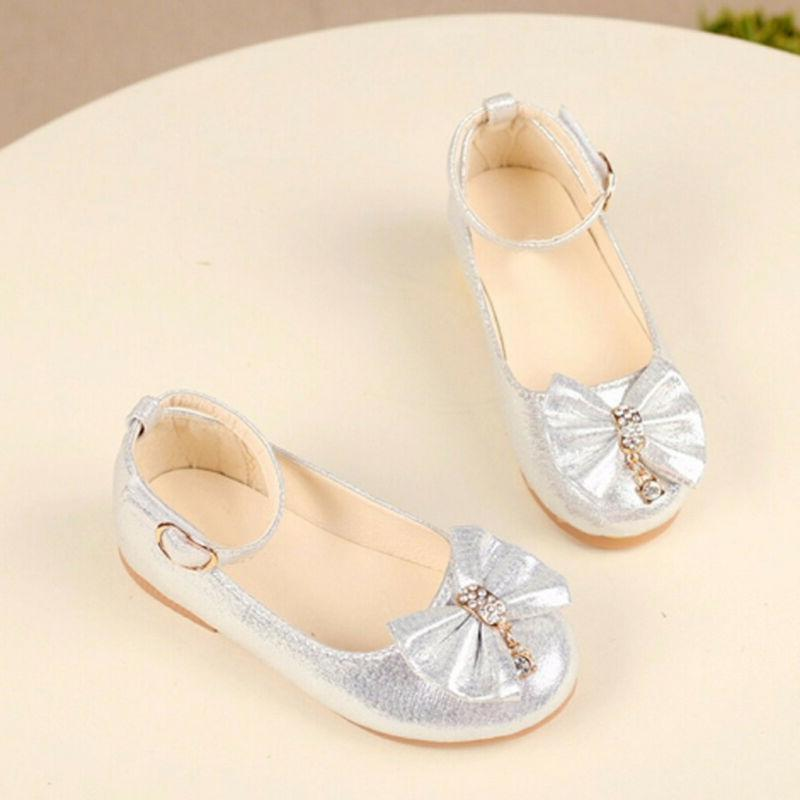 Children Baby Princess Shoes Bowknot Crystal Dance Single Shoes
