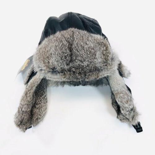 Guide Gear Medium Hat Trapper Rabbit Fur Leather Buckle Bomber Black