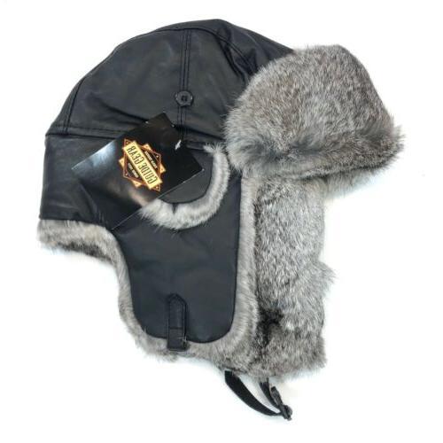 medium hat trapper rabbit fur leather buckle