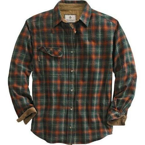men s plaid buck camp flannel shirt