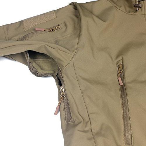 ReFire Mens Army Special Ops Jacket Fleece Outdoor Coat,Khaki,Medium