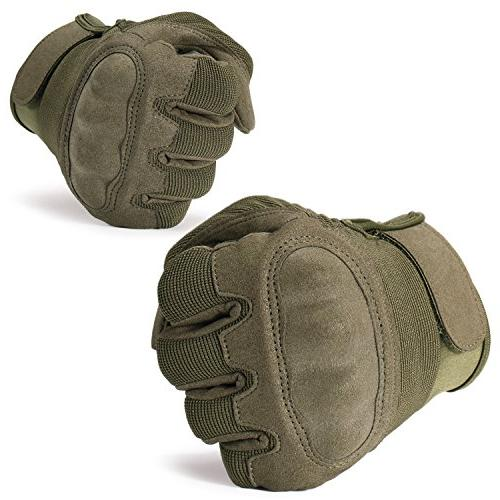 JIUSY Knuckle Tactical Airsoft Paintball Motorcycle Cycling Riding Hunting Combat Touch Finger Size Small B16