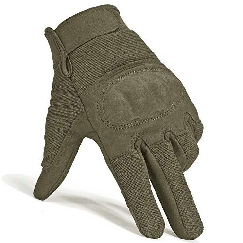JIUSY Military Shooting Knuckle Airsoft Paintball Motorcycle Riding Hunting Hiking Army Combat Touch Screen Finger Gloves Size Small