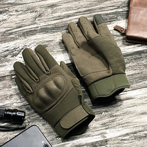JIUSY Knuckle Tactical Airsoft Paintball Motorcycle Cycling Riding Hiking Combat Screen Finger Gloves Size Green Small