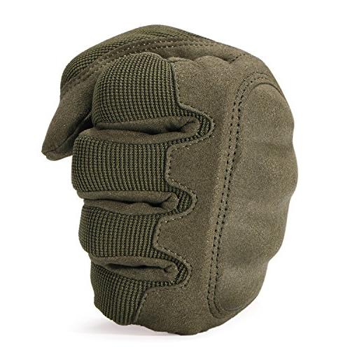 JIUSY Knuckle Airsoft Motorcycle Combat Screen Finger Gloves Green Small B16